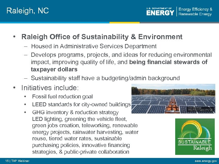 Raleigh, NC • Raleigh Office of Sustainability & Environment – Housed in Administrative Services