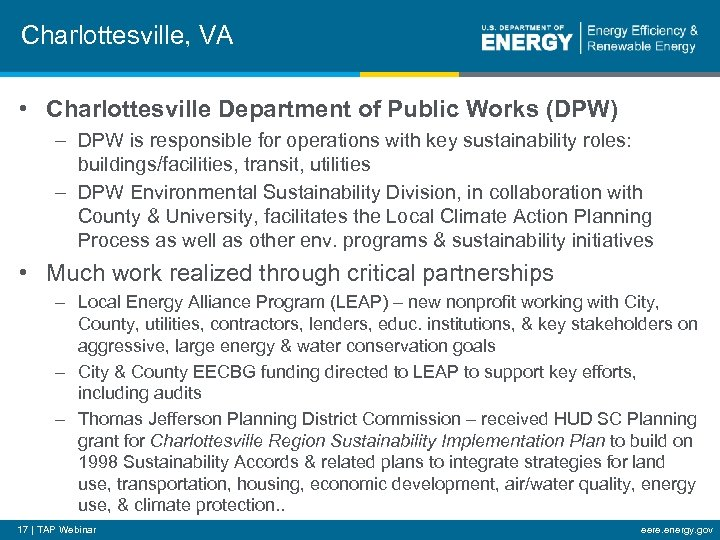 Charlottesville, VA • Charlottesville Department of Public Works (DPW) – DPW is responsible for