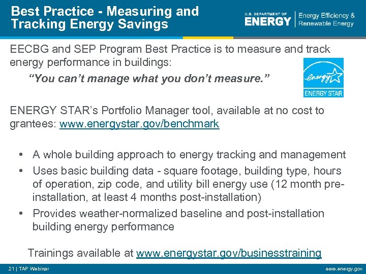 Best Practice - Measuring and Tracking Energy Savings EECBG and SEP Program Best Practice