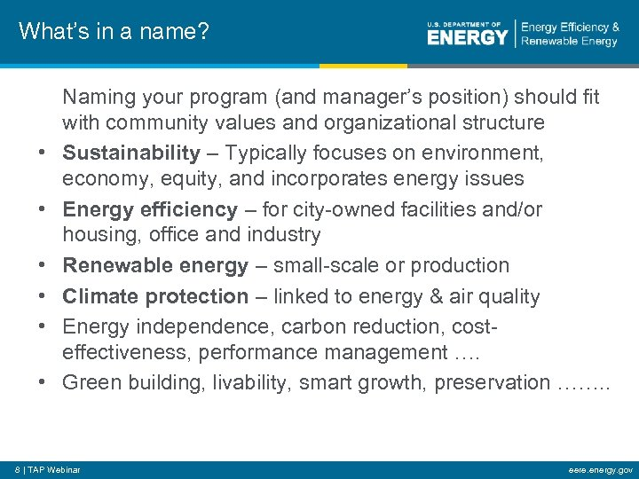 What's in a name? • • • Naming your program (and manager's position) should