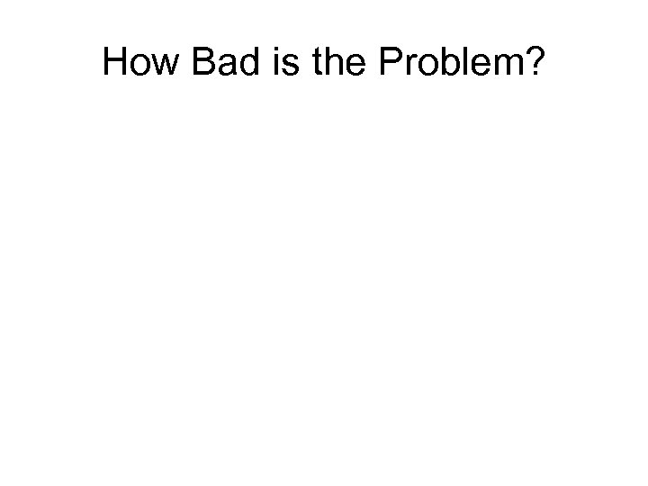 How Bad is the Problem?