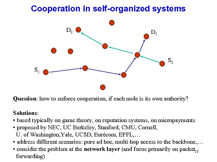 Cooperation in self-organized systems D 2 D 1 S 2 S 1 Question: how
