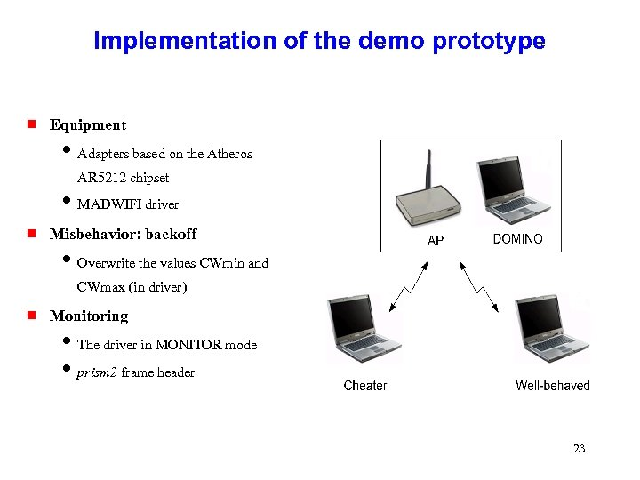 Implementation of the demo prototype g Equipment i Adapters based on the Atheros AR