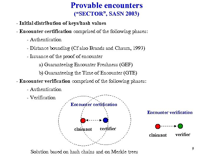 "Provable encounters (""SECTOR"", SASN 2003) - Initial distribution of keys/hash values - Encounter certification"