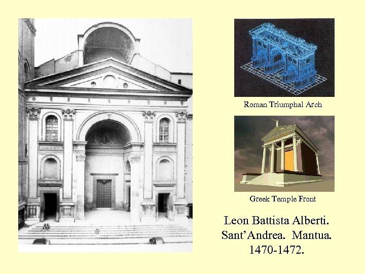 Roman Triumphal Arch Greek Temple Front Leon Battista Alberti. Sant'Andrea. Mantua. 1470 -1472.