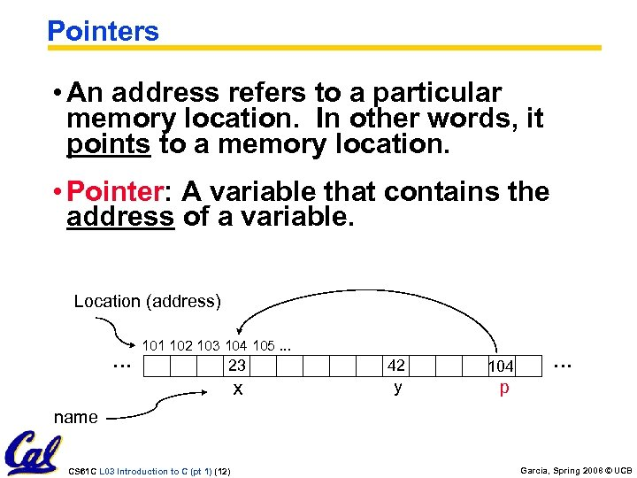Pointers • An address refers to a particular memory location. In other words, it
