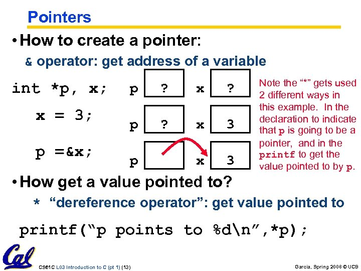 Pointers • How to create a pointer: & operator: get address of a variable