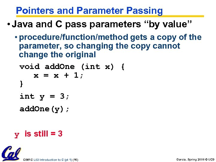 "Pointers and Parameter Passing • Java and C pass parameters ""by value"" • procedure/function/method"