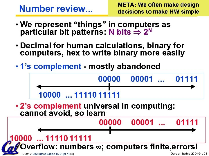 Number review. . . META: We often make design decisions to make HW simple