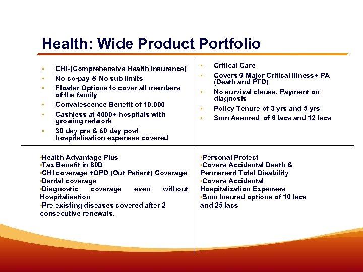Health: Wide Product Portfolio • • • CHI-(Comprehensive Health Insurance) No co-pay & No