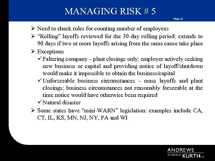 MANAGING RISK # 5 Page 20 Ø Need to check rules for counting number