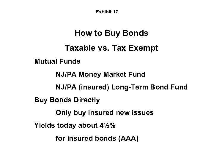 Exhibit 17 How to Buy Bonds Taxable vs. Tax Exempt Mutual Funds NJ/PA Money