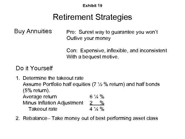 Exhibit 19 Retirement Strategies Buy Annuities Pro: Surest way to guarantee you won't Outlive