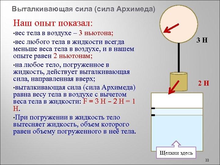 Выталкивающая сила (сила Архимеда) Наш опыт показал: • вес тела в воздухе – 3