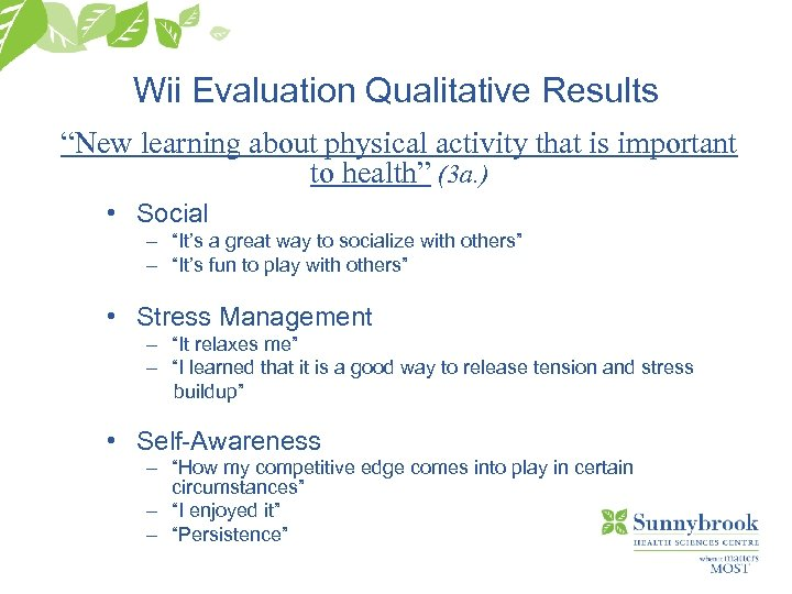 "Wii Evaluation Qualitative Results ""New learning about physical activity that is important to health"""
