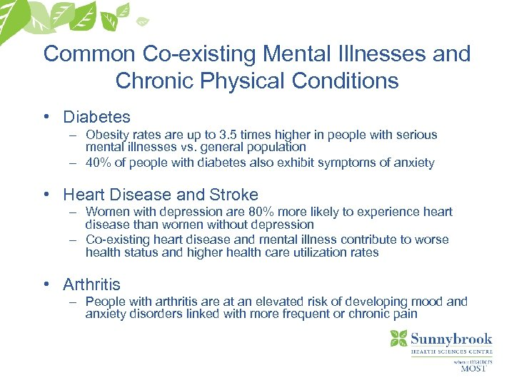 Common Co-existing Mental Illnesses and Chronic Physical Conditions • Diabetes – Obesity rates are