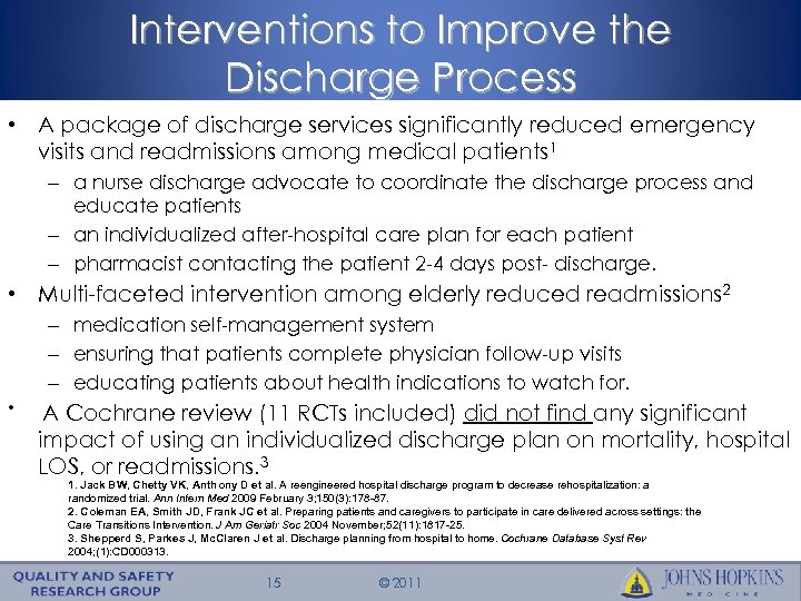 Interventions to Improve the Discharge Process • A package of discharge services significantly reduced