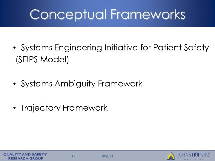 Conceptual Frameworks • Systems Engineering Initiative for Patient Safety (SEIPS Model) • Systems Ambiguity