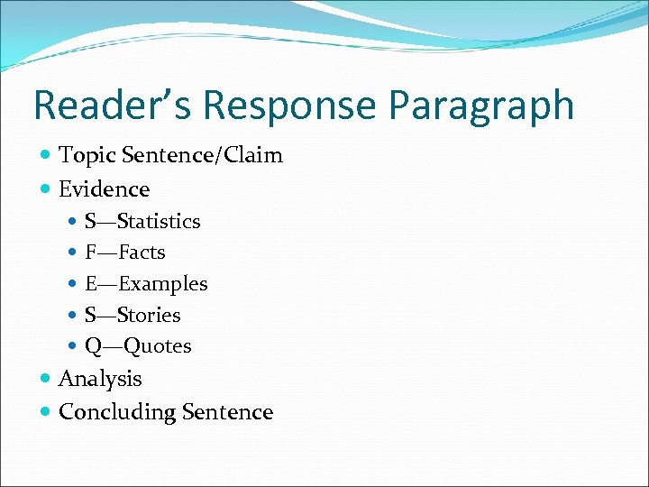 Reader's Response Paragraph Topic Sentence/Claim Evidence S—Statistics F—Facts E—Examples S—Stories Q—Quotes Analysis Concluding Sentence