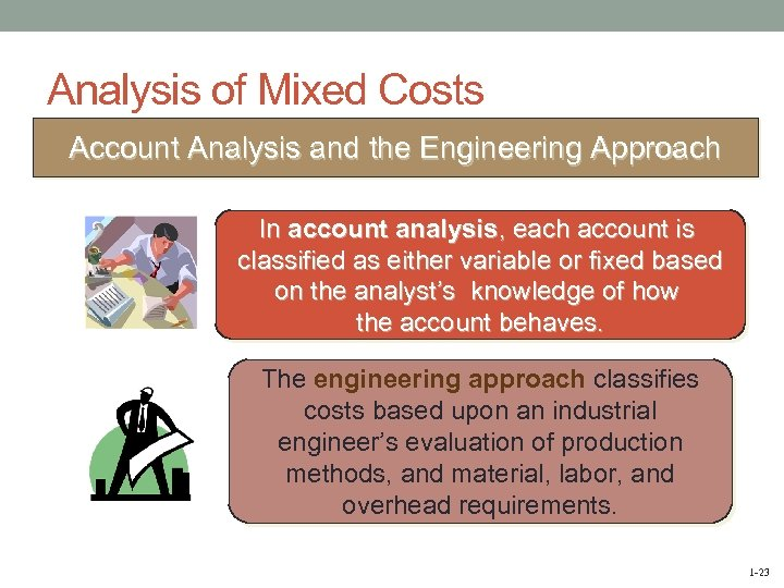 Analysis of Mixed Costs Account Analysis and the Engineering Approach In account analysis, each