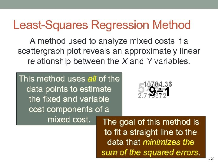 Least-Squares Regression Method A method used to analyze mixed costs if a scattergraph plot
