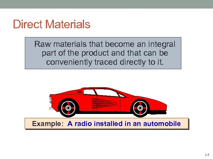 Direct Materials Raw materials that become an integral part of the product and that