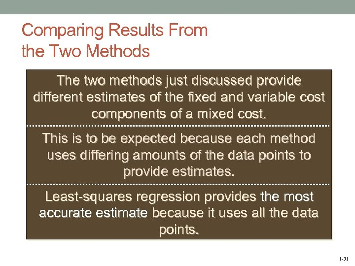 Comparing Results From the Two Methods The two methods just discussed provide different estimates