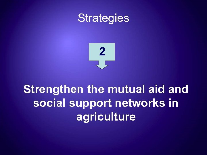 Strategies 2 Strengthen the mutual aid and social support networks in agriculture