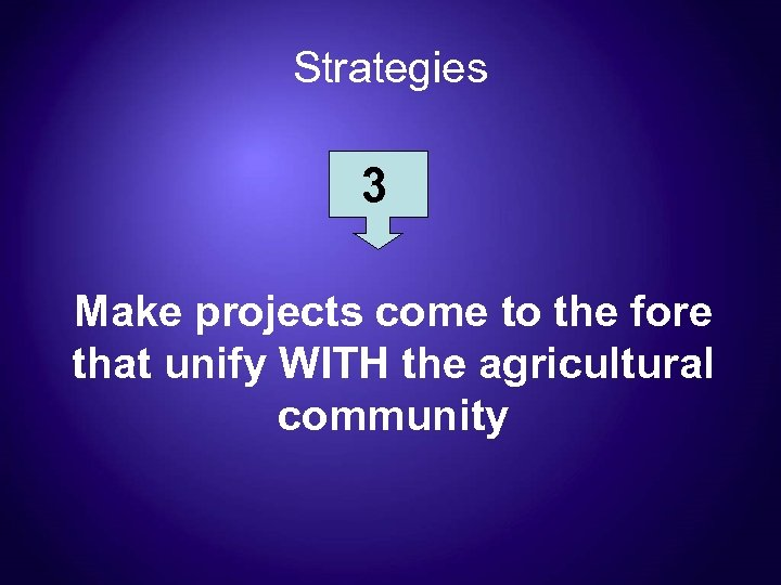 Strategies 3 Make projects come to the fore that unify WITH the agricultural community