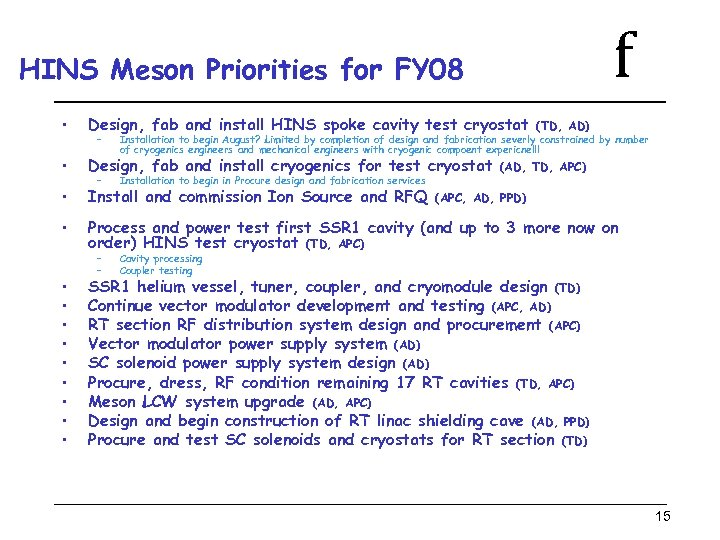 f HINS Meson Priorities for FY 08 • Design, fab and install HINS spoke