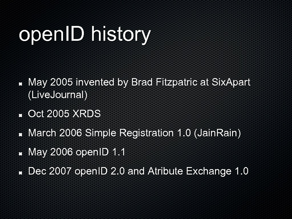 open. ID history May 2005 invented by Brad Fitzpatric at Six. Apart (Live. Journal)