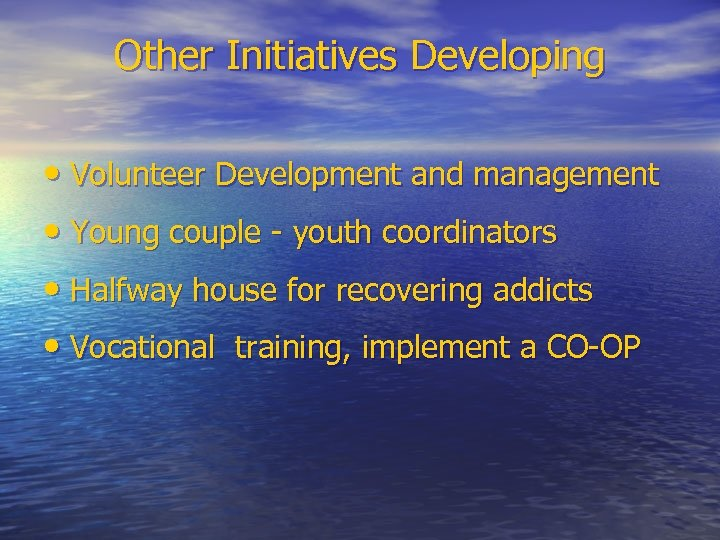 Other Initiatives Developing • Volunteer Development and management • Young couple - youth coordinators