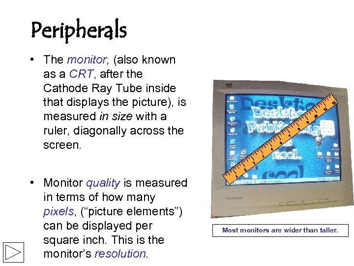 Peripherals • The monitor, (also known as a CRT, after the Cathode Ray Tube