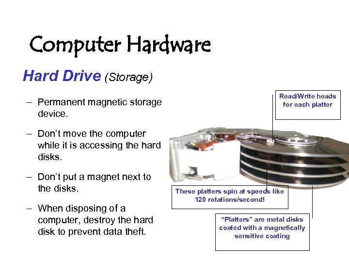 Computer Hardware Hard Drive (Storage) – Permanent magnetic storage device. Read/Write heads for each