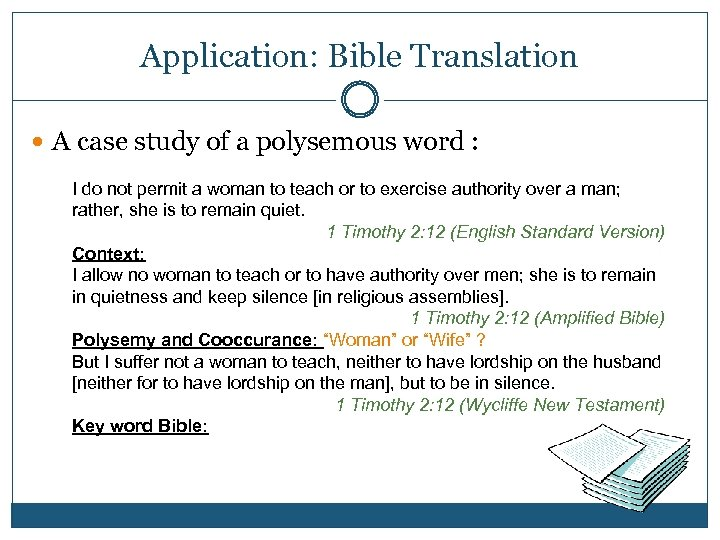 Application: Bible Translation A case study of a polysemous word : I do not