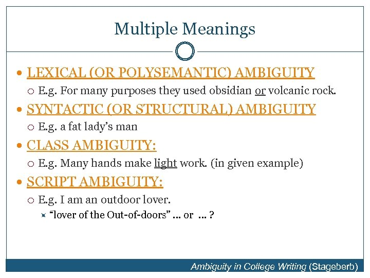 Multiple Meanings LEXICAL (OR POLYSEMANTIC) AMBIGUITY E. g. For many purposes they used obsidian