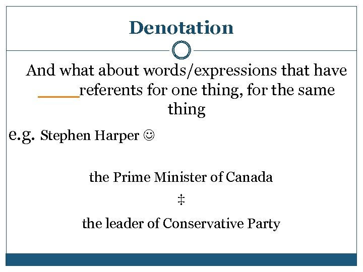 Denotation And what about words/expressions that have ____referents for one thing, for the same