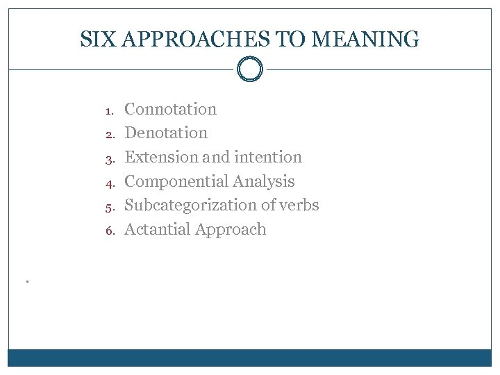SIX APPROACHES TO MEANING 1. 2. 3. 4. 5. 6. . Connotation Denotation Extension