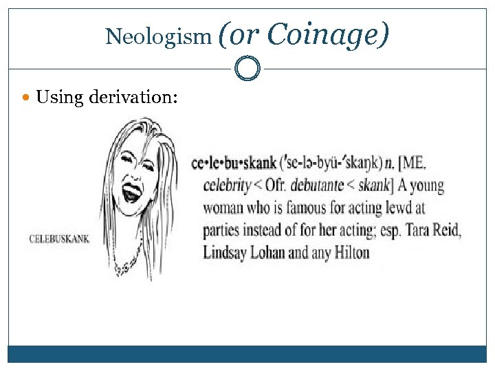 Neologism (or Coinage) Using derivation:
