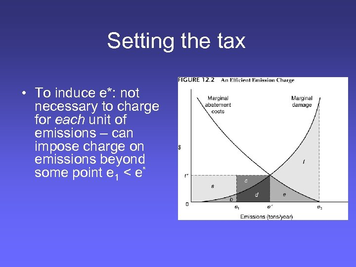 Setting the tax • To induce e*: not necessary to charge for each unit