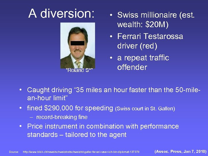 "A diversion: ""Roland S*"" • Swiss millionaire (est. wealth: $20 M) • Ferrari Testarossa"