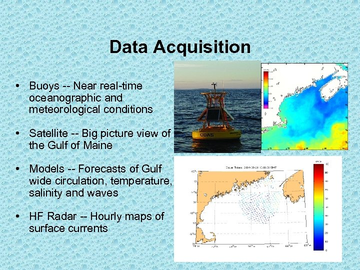 Data Acquisition • Buoys -- Near real-time oceanographic and meteorological conditions • Satellite --