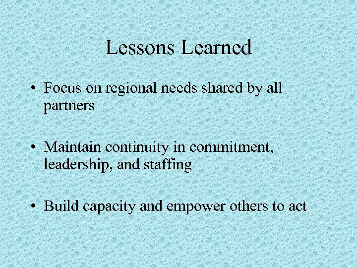 Lessons Learned • Focus on regional needs shared by all partners • Maintain continuity