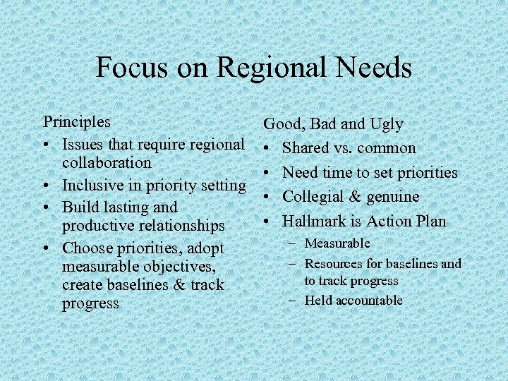 Focus on Regional Needs Principles • Issues that require regional collaboration • Inclusive in