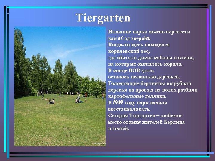 Tiergarten Название парка можно перевести как «Сад зверей» . Когда-то здесь находился королевский лес,