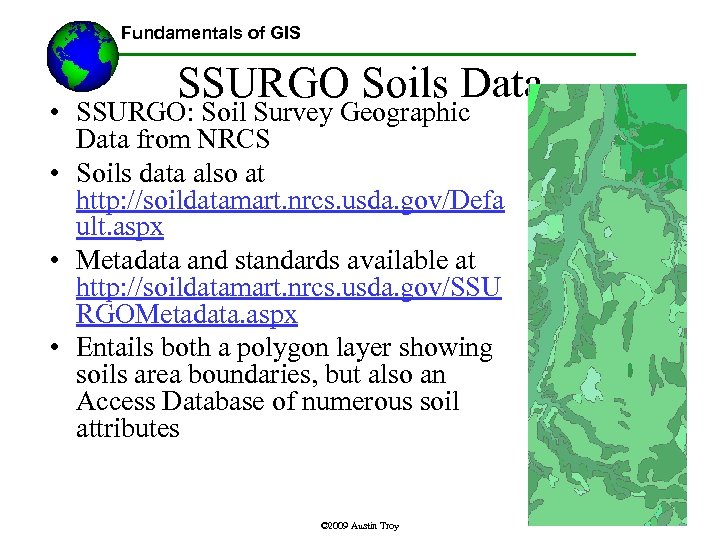 Fundamentals of GIS Lecture 8 Selected Public Data