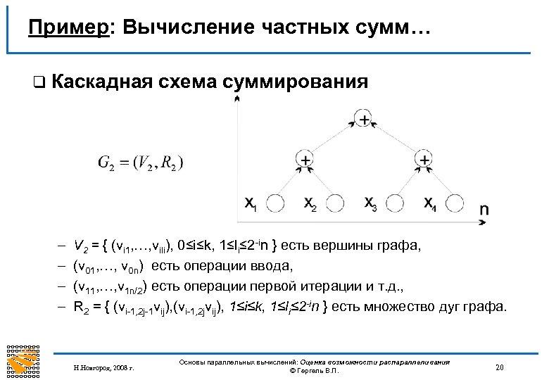 Пример: Вычисление частных сумм… q Каскадная – – схема суммирования V 2 = {