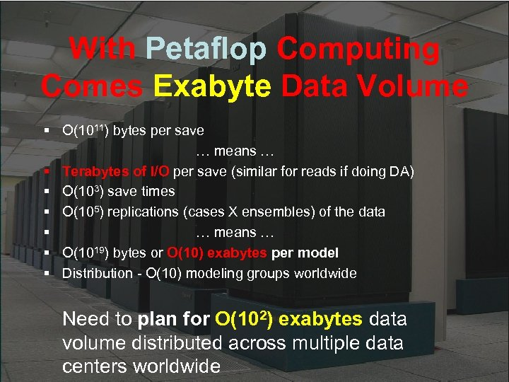 With Petaflop Computing Comes Exabyte Data Volume § O(1011) bytes per save … means