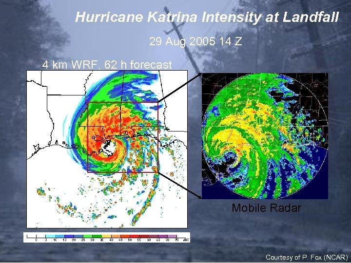 Hurricane Katrina Intensity at Landfall 29 Aug 2005 14 Z 4 km WRF, 62