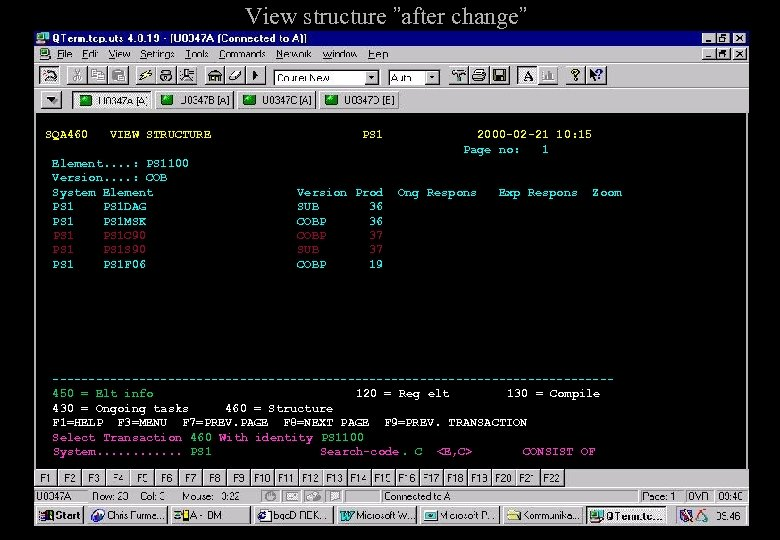 """View structure """"after change"""" SQA 460 VIEW STRUCTURE Element. . : PS 1100 Version."""